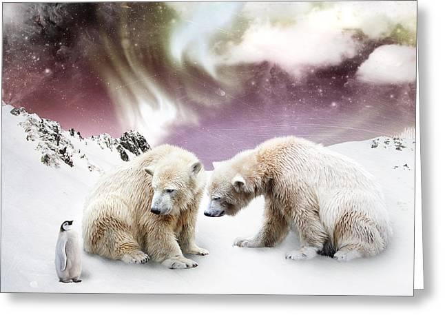 Bear Digital Greeting Cards - Polar Meet Greeting Card by Julie L Hoddinott