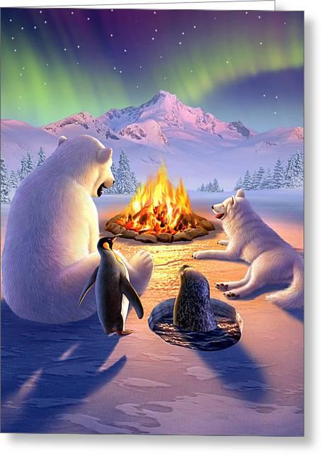 Warmth Greeting Cards - Polar Pals Greeting Card by Jerry LoFaro