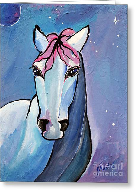 Stellar Paintings Greeting Cards - Polaris Whimsical Horse Art by Valentina Miletic Greeting Card by Valentina Miletic