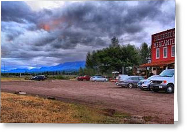 Saloons Greeting Cards - Polebridge Town Panorama Greeting Card by Adam Jewell