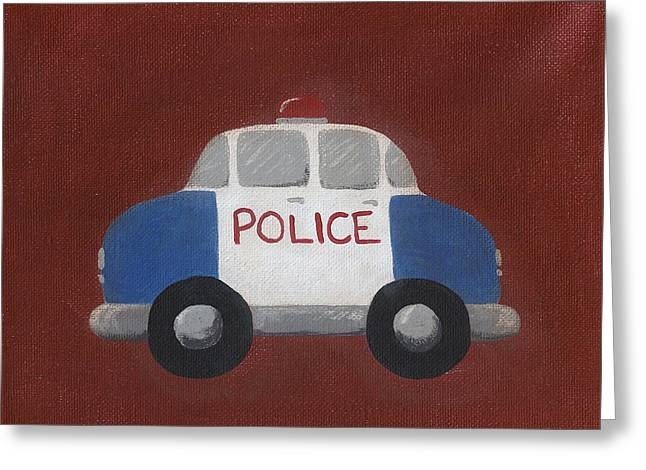 Police Car Greeting Cards - Police Car Nursery Art Greeting Card by Katie Carlsruh