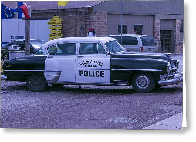 Police Car Seligman Azorina Greeting Card by Garry Gay