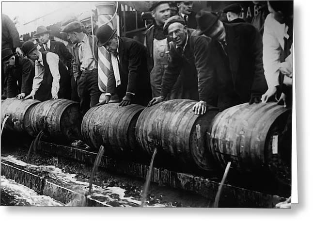 Police Dump Kegs - Prohibition - 1920s Greeting Card by Daniel Hagerman