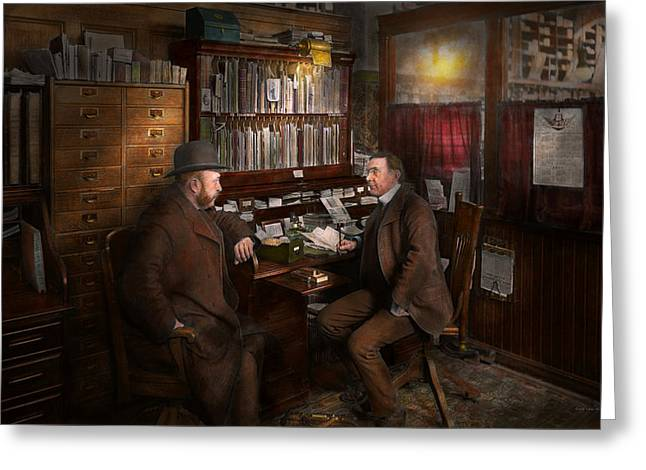 Fashion Setting Greeting Cards - Police - The private eye - 1902  Greeting Card by Mike Savad