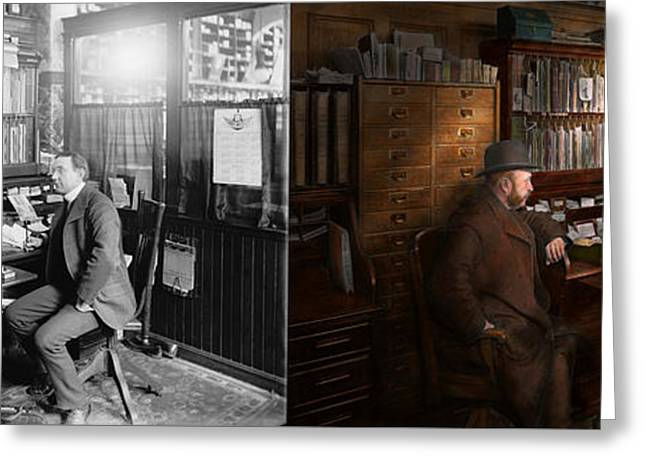 Magistrates Greeting Cards - Police - The private eye - 1902 - Side by side Greeting Card by Mike Savad
