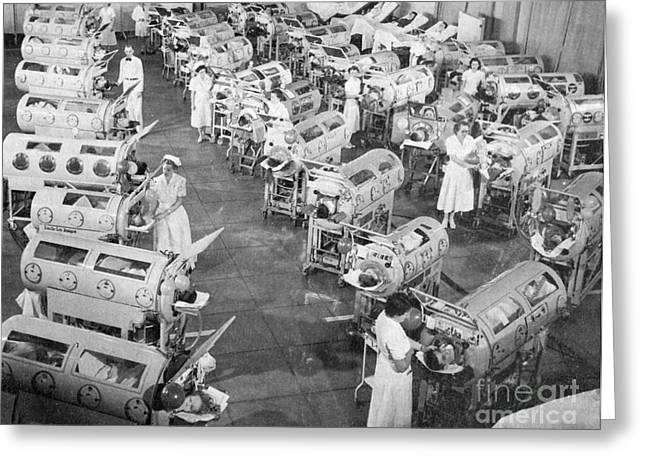 Respiratory Greeting Cards - Polio Victims In Iron Lungs Greeting Card by Science Source