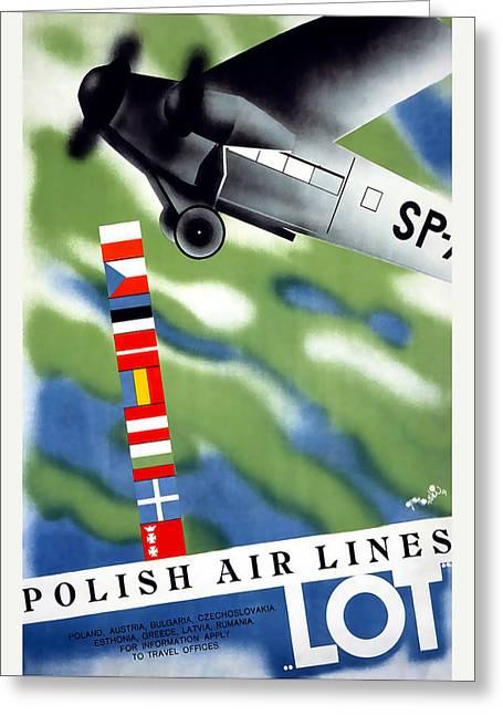 Poland Art Greeting Cards - Polish Air Lines Greeting Card by David Wagner