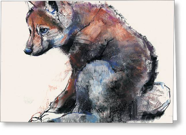 Baby Animal Drawings Greeting Cards - Polish Wolf Pup Greeting Card by Mark Adlington