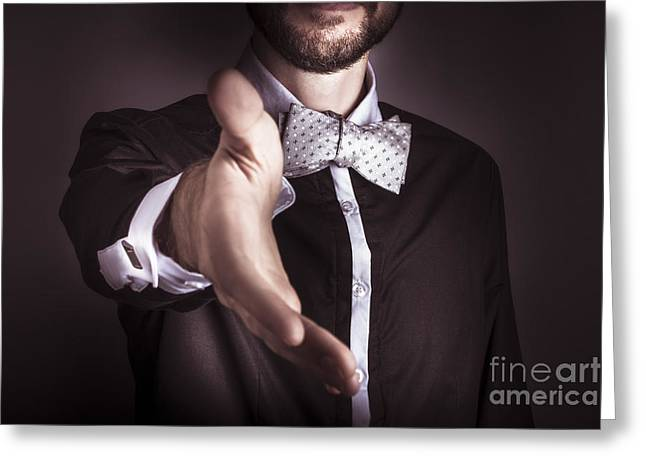 Cufflinks Greeting Cards - Polite sophisticated man offering his hand Greeting Card by Ryan Jorgensen