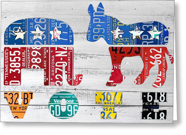 Political Party Election Vote Republican Vs Democrat Recycled Vintage Patriotic License Plate Art Greeting Card by Design Turnpike