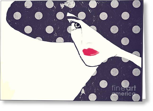 Polka Dot Fashion Hat Greeting Card by Mindy Sommers