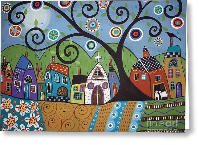 Prints For Sale Paintings Greeting Cards - Polkadot Church Greeting Card by Karla Gerard