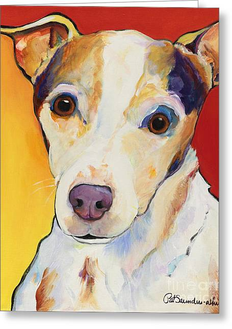 Dog Abstract Greeting Cards - Polly Greeting Card by Pat Saunders-White