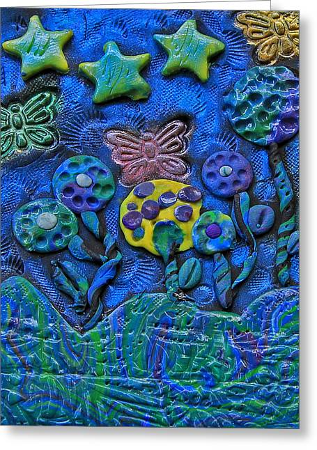 Polymer Clay Greeting Cards - Polymer Clay Whimiscal Flowers Stars and Butterflies Greeting Card by Donna Haggerty