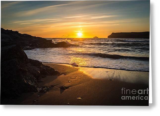 Polzeath Sunset Greeting Card by Amanda Elwell