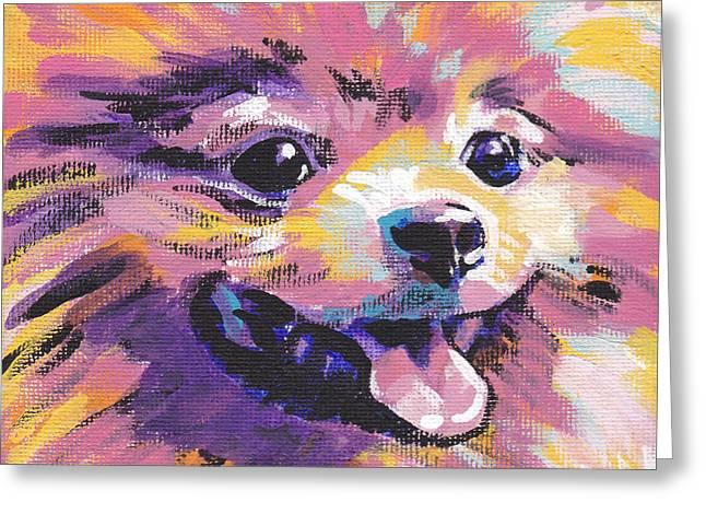 Dog Portraits Greeting Cards - Pom Pom Greeting Card by Lea