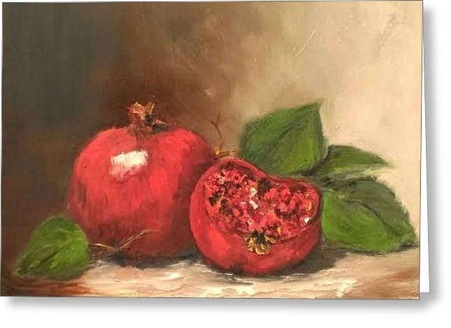 Table Greeting Cards - Pomegranates Greeting Card by Anne Whitaker