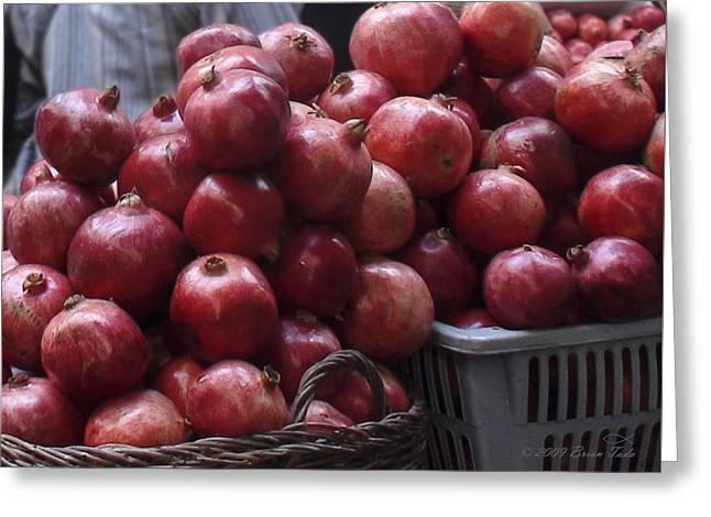 Good Deeds Greeting Cards - Pomegranates at Old City Market Jerusalem Israel Greeting Card by Brian Tada