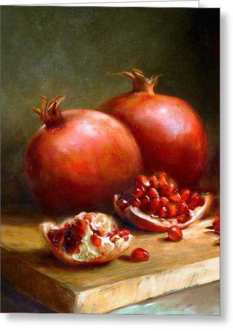 Still Life Glass Greeting Cards - Pomegranates Greeting Card by Robert Papp