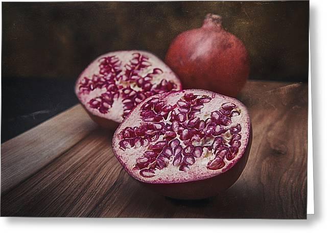 Slice Greeting Cards - Pomegranates Greeting Card by Tom Mc Nemar