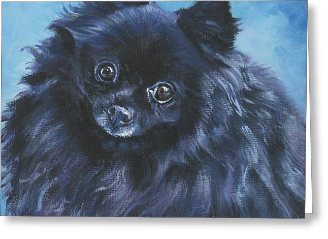 Puppies Paintings Greeting Cards - Pomeranian black Greeting Card by Lee Ann Shepard