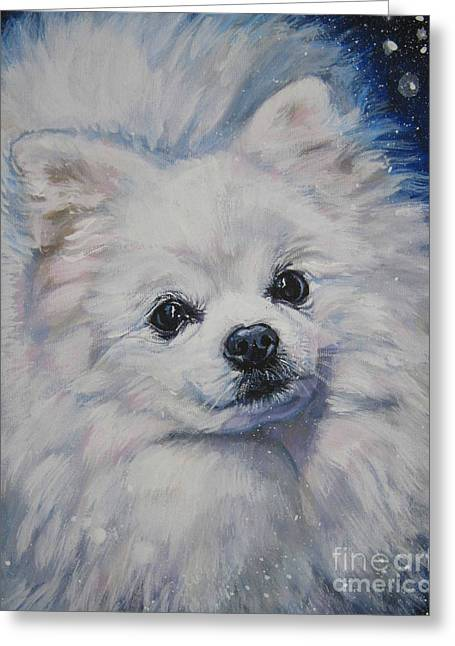 Puppies Paintings Greeting Cards - Pomeranian in snow Greeting Card by Lee Ann Shepard