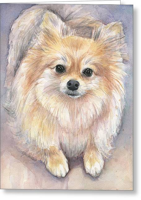 Puppies Paintings Greeting Cards - Pomeranian Watercolor Greeting Card by Olga Shvartsur