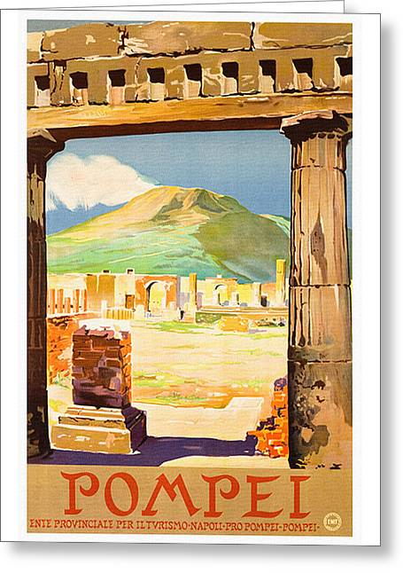 Naples Drawings Greeting Cards - Pompei Italy - Vintage Italian Travel Greeting Card by Just Eclectic