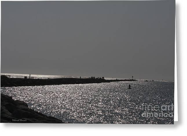 Glistening Water Greeting Cards - Ponce Inlet Pier Greeting Card by Deborah Benoit