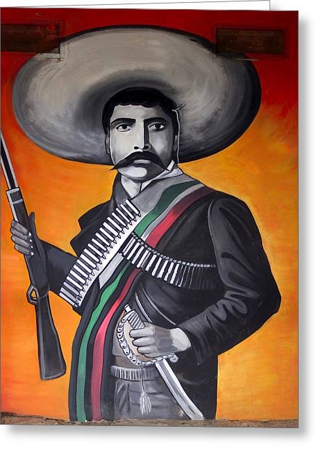 Mexican Revolution Greeting Cards - Emiliano Zapata Greeting Card by Kurt Van Wagner