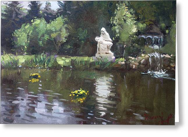 Waterfall Greeting Cards - Pond at Our Lady of Fatima Lewiston Greeting Card by Ylli Haruni