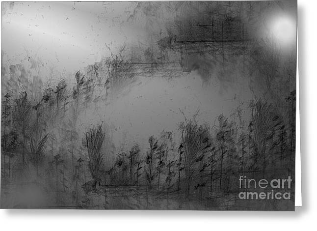 Abstract Expressionist Greeting Cards - Pond By Moonlight Greeting Card by John Krakora