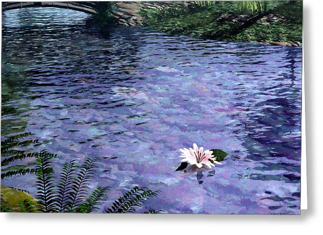 Floating Flowers Greeting Cards - Pond Greeting Card by Cynthia Decker