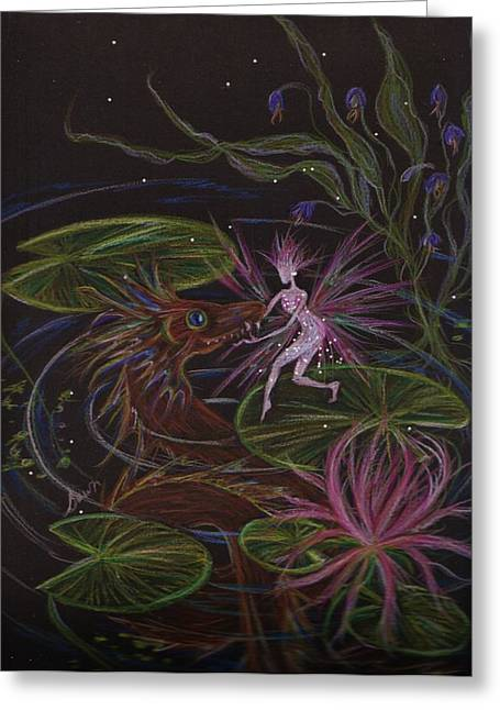 Water Lilly Drawings Greeting Cards - Pond Dragon Greeting Card by Dawn Fairies