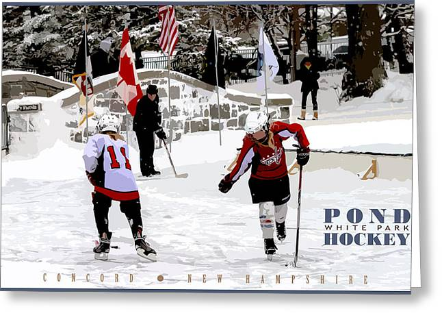 Concord Greeting Cards - Pond Hockey Greeting Card by Aaron Baker