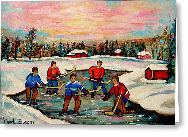 Montreal Winter Scenes Paintings Greeting Cards - Pond Hockey Countryscene Greeting Card by Carole Spandau