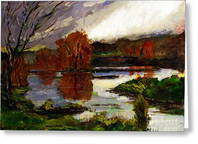 Renewing Paintings Greeting Cards - Pond of Light Greeting Card by Charlie Spear