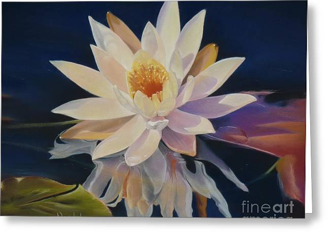 Photorealism Pastels Greeting Cards - Pondering Nymphaea Greeting Card by Nanybel Salazar