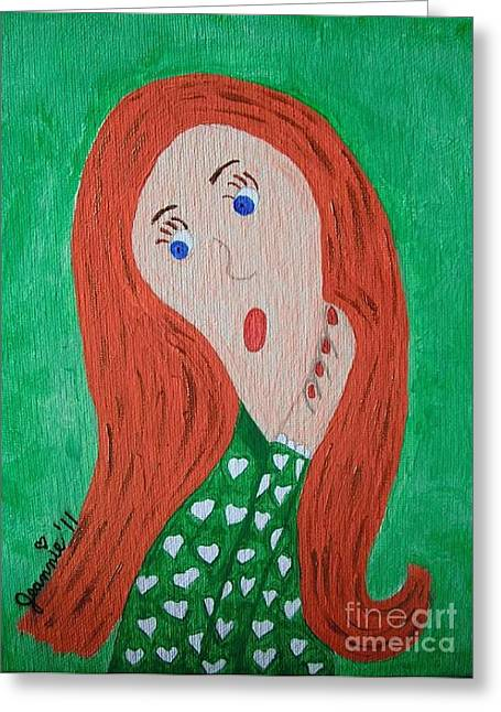 Pondering Paintings Greeting Cards - Pondering Redhead Greeting Card by Jeannie Atwater Jordan Allen