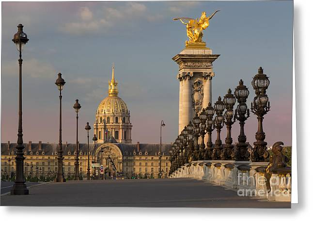Invalides Greeting Cards - Pont Alexandre III at Dawn II Greeting Card by Brian Jannsen