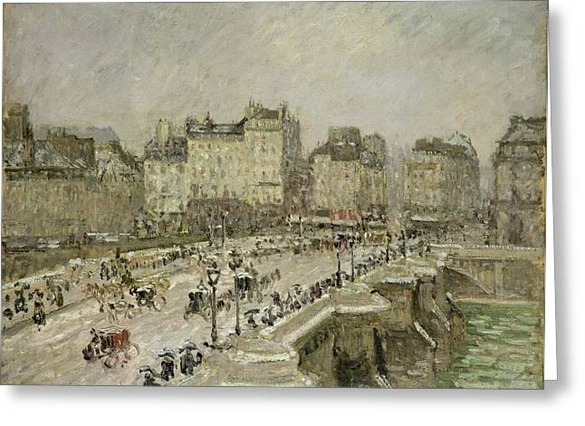 Traffic Greeting Cards - Pont Neuf Snow Effect Greeting Card by Camille Pissarro