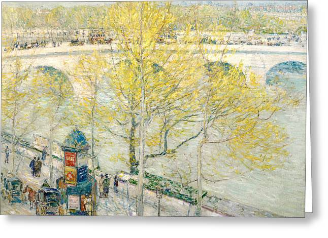 Parisian Greeting Cards - Pont Royal Paris Greeting Card by Childe Hassam