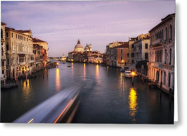 Italian Sunset Greeting Cards - Ponte dellAccademia Greeting Card by Insung Choi