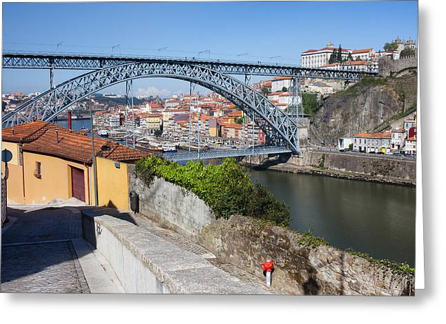 Historic Home Greeting Cards - Ponte Luiz I Between Porto And Gaia In Portugal Greeting Card by Artur Bogacki