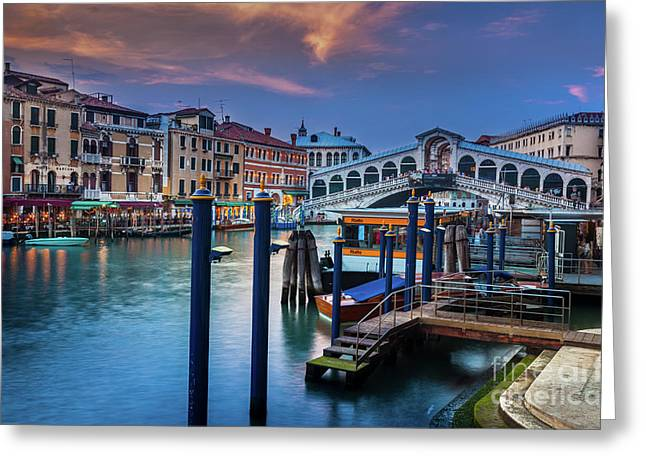 Ponte Rialto Evening Greeting Card by Inge Johnsson