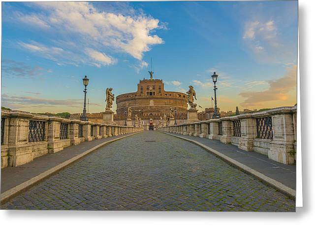 Italian Sunset Greeting Cards - Ponte Sant Angelo Over The Tiber  Rome Greeting Card by Mats Silvan