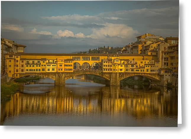 Florence Greeting Cards - Ponte Vecchio as the sun sets Greeting Card by Chris Fletcher