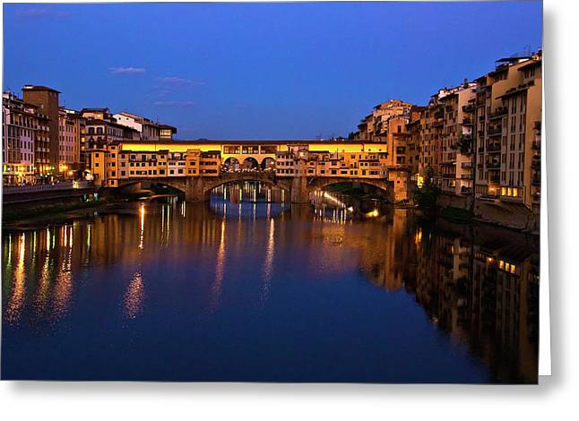 Ponte Vecchio Greeting Cards - Ponte Vecchio Dusk  Greeting Card by Harry Spitz