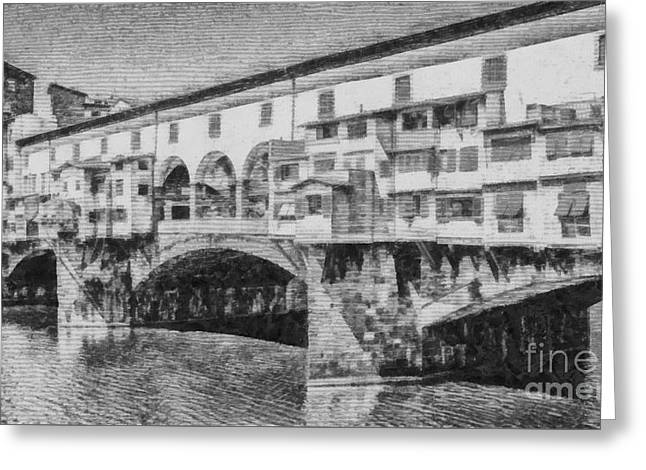 Culture Drawings Greeting Cards - Ponte Vecchio Greeting Card by Edward Fielding