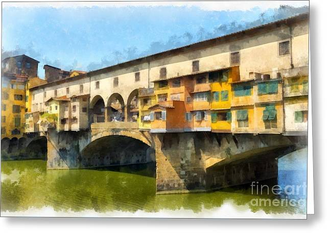 Famous Bridge Greeting Cards - Ponte Vecchio Florence Italy Greeting Card by Edward Fielding
